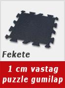 1 cm vastag fekete színű puzzle gumilap.