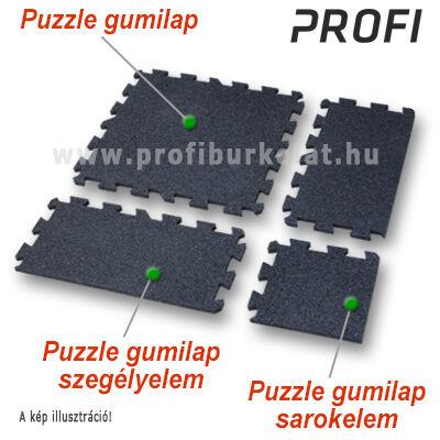 A professzionális fekete puzzle gumiburkolat ezekből az elemekből állítható össze.